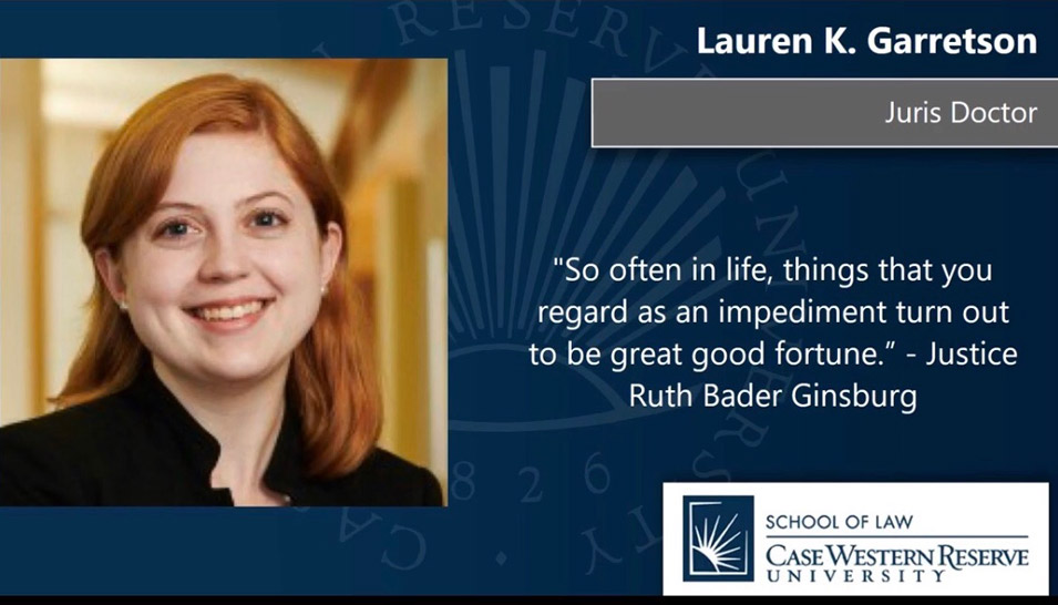 Congratulations Lauren K. Garretson JD Case Western Reserve School of Law