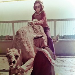 Gladys de Barcza on a 1970s Camel Ride